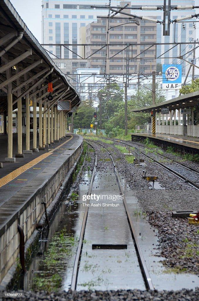 Service suspended as the flood triggered by Typhoon Sanba at JR Nagasaki Station on September 17, 2012 in Nagasaki, Japan.