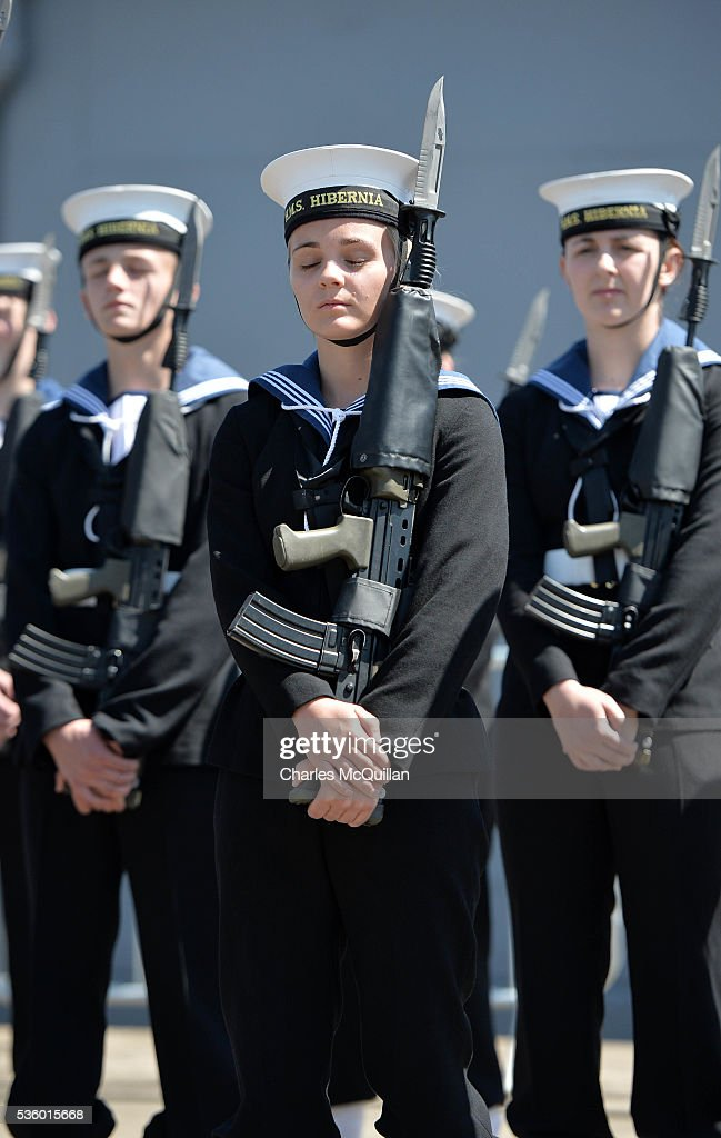 Serviceman and sea cadets bow their heads during the prayer service at HMS Caroline on May 31, 2016 in Belfast, Northern Ireland. HMS Caroline is the last surviving ship from the 1916 Battle of Jutland and today hosted a special all island commemoration service ahead of it's reopening to the public tomorrow after a major restoration project. The Battle of Jutland is remembered as the largest and deadliest naval battle of World War One, where more than 6,000 British and more than 2,500 German personnel lost their lives in the 36-hour Battle off the coast of Denmark.