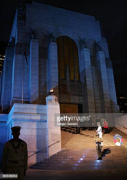 Serviceman from the Australia Federation Guard observe a minutes silence during the ANZAC Memorial 75th Anniversary Ceremony on November 24 2009 in...
