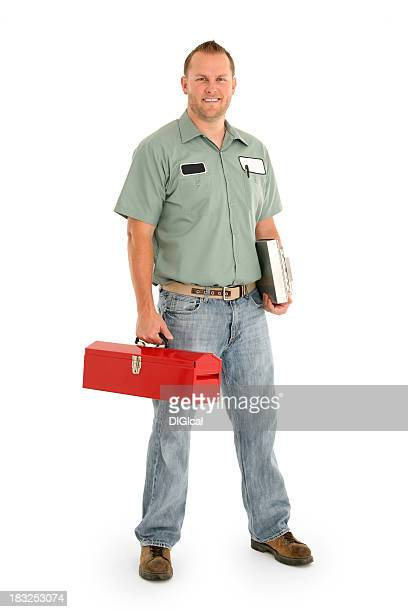Serviceman with a red toolbox and in uniform