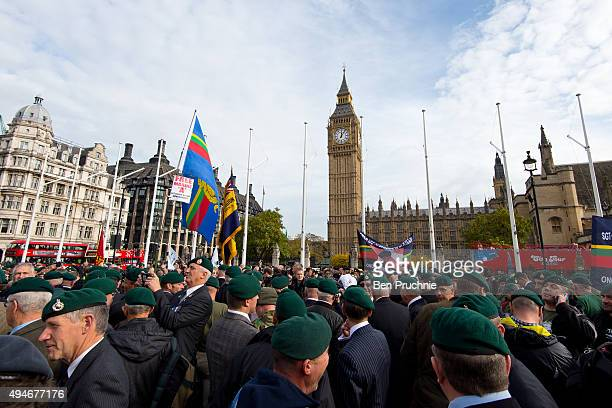 Servicemen and Exservicemen attend a rally in Parliament Square in support of Sgt Alexander Blackman on October 28 2015 in London England Sgt...