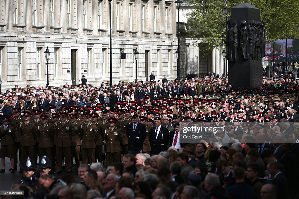 Servicemen and women and military veterans attend a commemorative ceremony marking the centenary of the Gallipoli campaign on April 25, 2015 in London, England. The Gallipoli land campaign, in which a combined Allied force of British, French, Australian, New Zealand and Indian troops sought to occupy the Gallipoli peninsula and the strategic Dardanelles strait during World War I, began on April 25, 1915 against Turkish forces of the Ottoman Empire. The Allies, unable to advance more than a few kilometers, withdrew after eight months. The campaign cost the Allies approximately 45,000 killed and up to 200,000 wounded, the Ottomans approximately 85,000 killed and 160,000 wounded.