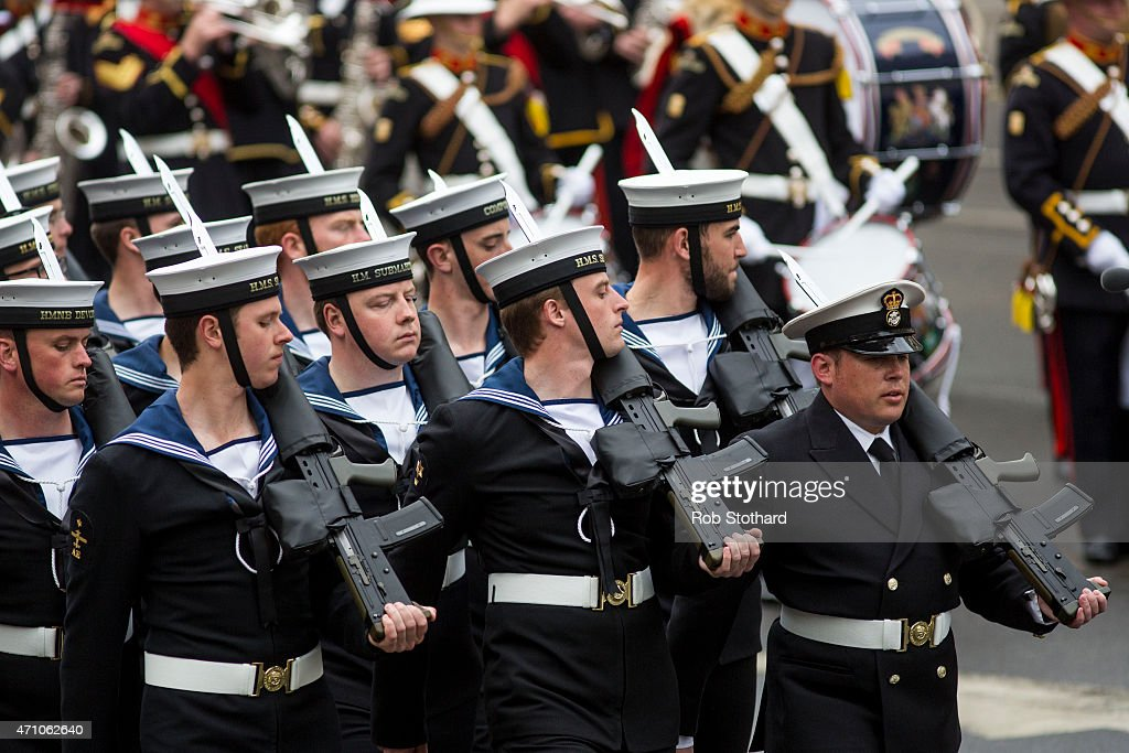 Servicemen from the Royal Navy parade down Whitehall during a commemorative ceremony marking the centenary of the Gallipoli campaign on April 25, 2015 in London, England. The Gallipoli land campaign, in which a combined Allied force of British, French, Australian, New Zealand and Indian troops sought to occupy the Gallipoli peninsula and the strategic Dardanelles strait during World War I, began on April 25, 1915 against Turkish forces of the Ottoman Empire. The Allies, unable to advance more than a few kilometers, withdrew after eight months. The campaign cost the Allies approximately 45,000 killed and up to 200,000 wounded, the Ottomans approximately 85,000 killed and 160,000 wounded.