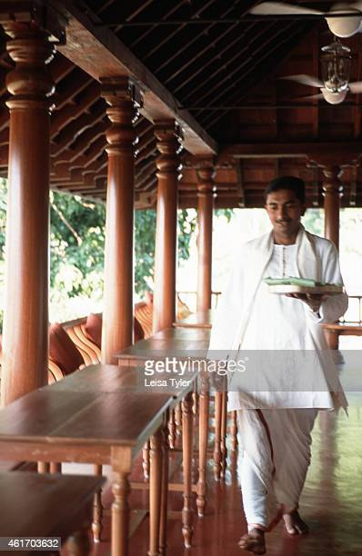 Serving a traditional lunch thali in the communal restaurant at Kalari Kovilakom a 19th century palace in the hills above Palakkad Kerala recently...