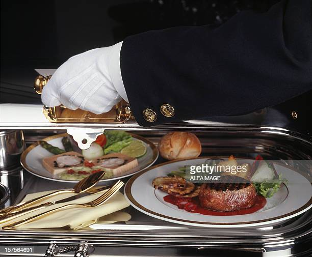 Serving luxury meal