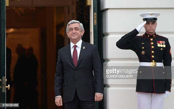 Serzh Sarkisian President of Armenia arrives for a working dinner at the White House March 31 2016 in Washington DC World leaders are gathering for a...
