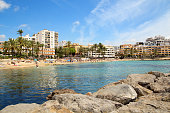 Ses Figueretes beach in Ibiza town in sunny summer day.