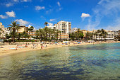 Ses Figueretes beach in Ibiza town in sunny summer morning