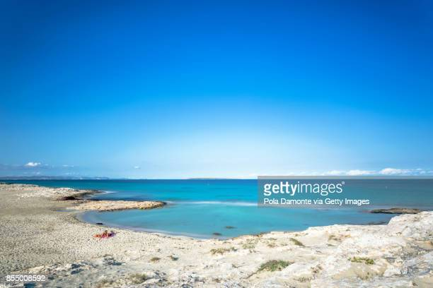 Ses Illettes, Formentera coastline idyllic beach in Balearic Islands, Spain