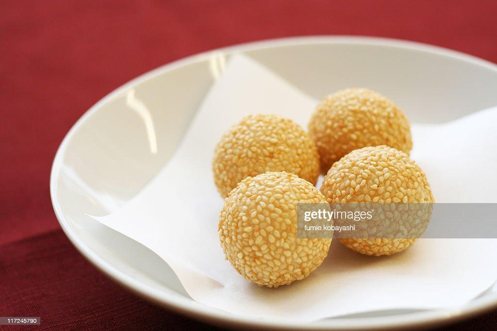 Sesame dumplings : Stock Photo