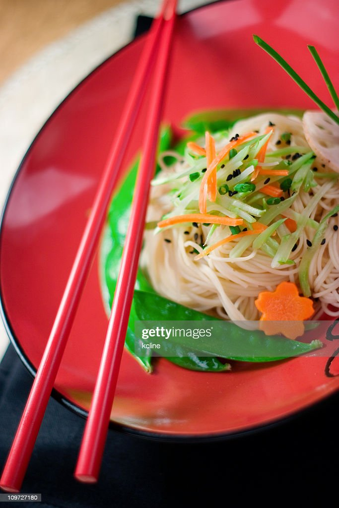 Sesame Noodles in Bowl : Stock Photo