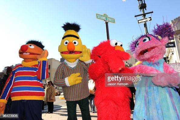 Sesame Street characters Ernie Bert Elmo and Abby Cadabby attend the temporary street renaming to celebrate the 30th anniversary of Sesame Street...