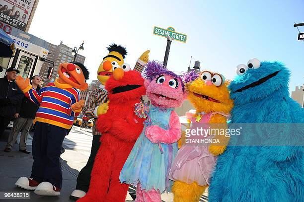 Sesame Street Live charactors Ernie Bert Elmo Abby Cadabby Zoe and Cookie Monster celebrate the renaming of the corner of 31st Street and Eighth...