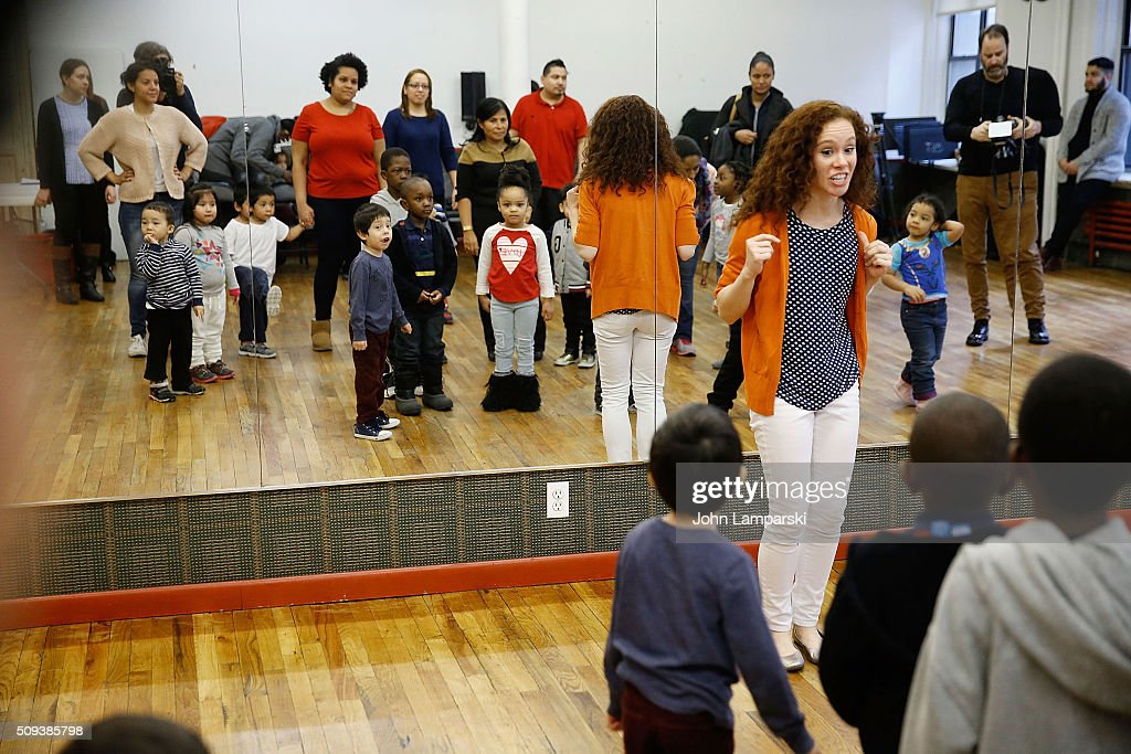 Sesame Street Live Performance Director Molly Jackson and children from the Garden of Dreams Foundation attend Sesame Street Live Dance Class at Ripley Greer Studios on February 10, 2016 in New York City.