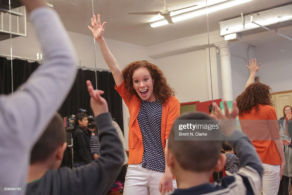 Sesame Street Live performance director Molly Jackson conducts the Sesame Street Live Dance Class held at Ripley Greer Studios on February 10, 2016 in New York City.