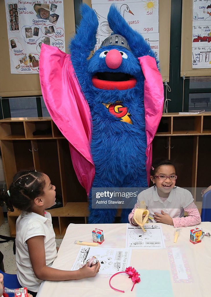 Sesame Street Live's Super Grover teach children from WHEDCo how to be super heroes on January 24, 2013 in New York City.