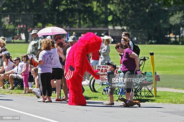Sesame Street Muppet Character Elmo in Independence Day Parade