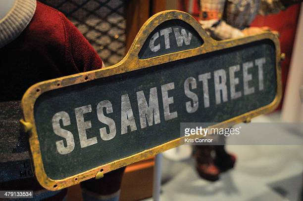Sesame Street Sign from 1979 is on display during the grand opening of National Museum Of American History's Innovation Wing at the National Museum...