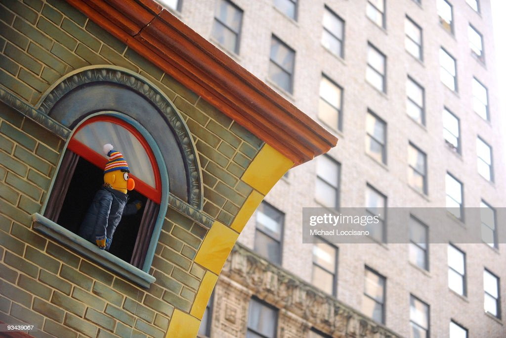 Sesame Street's Bert looks out at Manhattan buidings during the 83rd annual Macy's Thanksgiving Day parade on the Streets of Manhattan on November 26...
