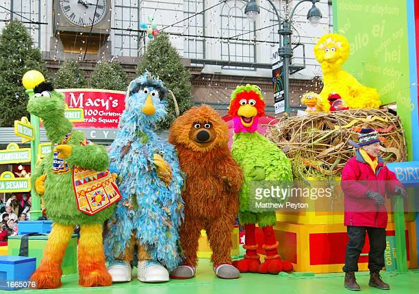 Sesame Street's Big Bird and friends perform at the 76th Annual Macy's Thanksgiving Day Parade in Herald Square November 28 2002 in New York City