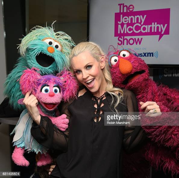 Sesame Street's Rosita Abby Cadabby and Telly Monster visit 'The Jenny McCarthy Show' with host Jenny McCarthy at SiriusXM Studios on January 10 2017...