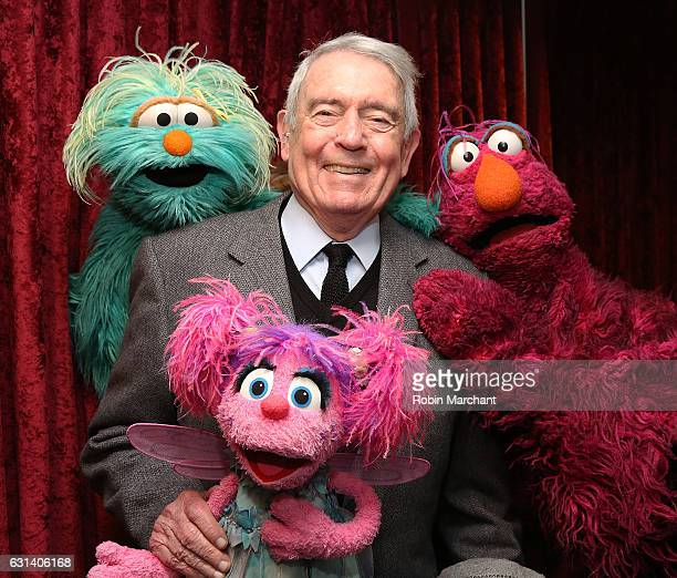 Sesame Street's Rosita Abby Cadabby and Telly Monster with Dan Rather visit at SiriusXM Studios on January 10 2017 in New York City