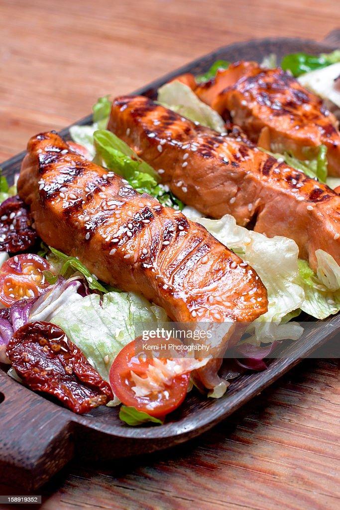 Sesame-Soy Salmon : Stock Photo