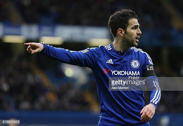 Sesc Fabregas of Chelsea gestures during the Barclays Premier League match between Chelsea and West Ham United at Stamford Bridge on March 19 2016 in...