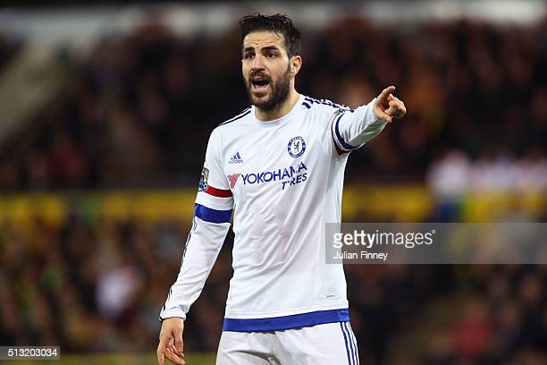 Sesc Fabregas of Chelsea looks on during the Barclays Premier League match between Norwich City and Chelsea at Carrow Road on March 1 2016 in Norwich...