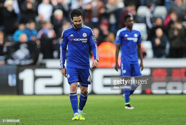 Sesc Fabregas of Chelsea shows his dejection as he leaves the pitch after his team's 01 defeat in the Barclays Premier League match between Swansea...