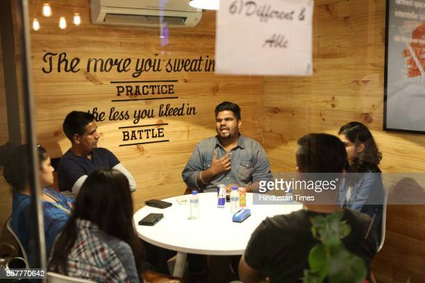 A session conducted by a differentlyabled individual as part of the Human Library event held at Connaught Place on June 18 2017 in New Delhi India At...