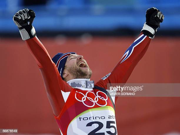 Kjetil Andre Aamodt from Norway celebrates 18 February 2006 following the Men's SuperG in Sestriere Borgota Italy Aamodt who stopped the clock at...