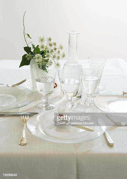 Set and decorated table, close-up