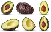 Set brown mature avocado whole, three quarters with bone, cut in half, slice isolated on white background. Clipping Path. Full depth of field.