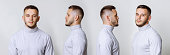 Set collage handsome young man in white turtleneck standing on grey background. Different angle view of a young handsome man face.