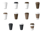 Set, collection white paper Cup with label and without label isolated on wthie. 3d rendering