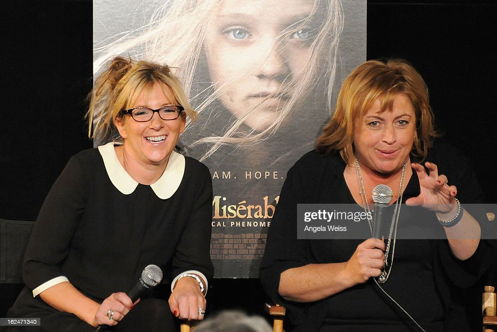 Set decorator Anna Lynch-Robinson and production designer Eve Stewart attend the Academy Award Nominees for Production Design and Set Decorators panel discussion at the Egyptian Theatre on February 23, 2013 in Hollywood, California.