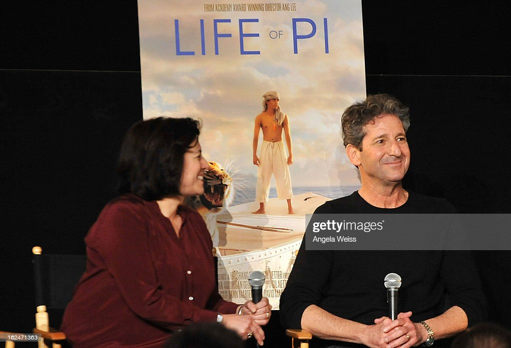 Set decorator Anna Pinnock and production designer David Gropman attend the Academy Award Nominees for Production Design and Set Decorators panel discussion at the Egyptian Theatre on February 23, 2013 in Hollywood, California.