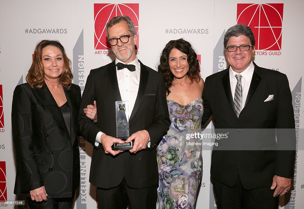 Set Decorator Cindy Slagter Production Designer Mark Worthington with award for Television Movie or MiniSeries presenter Lisa Edelstein and Art...