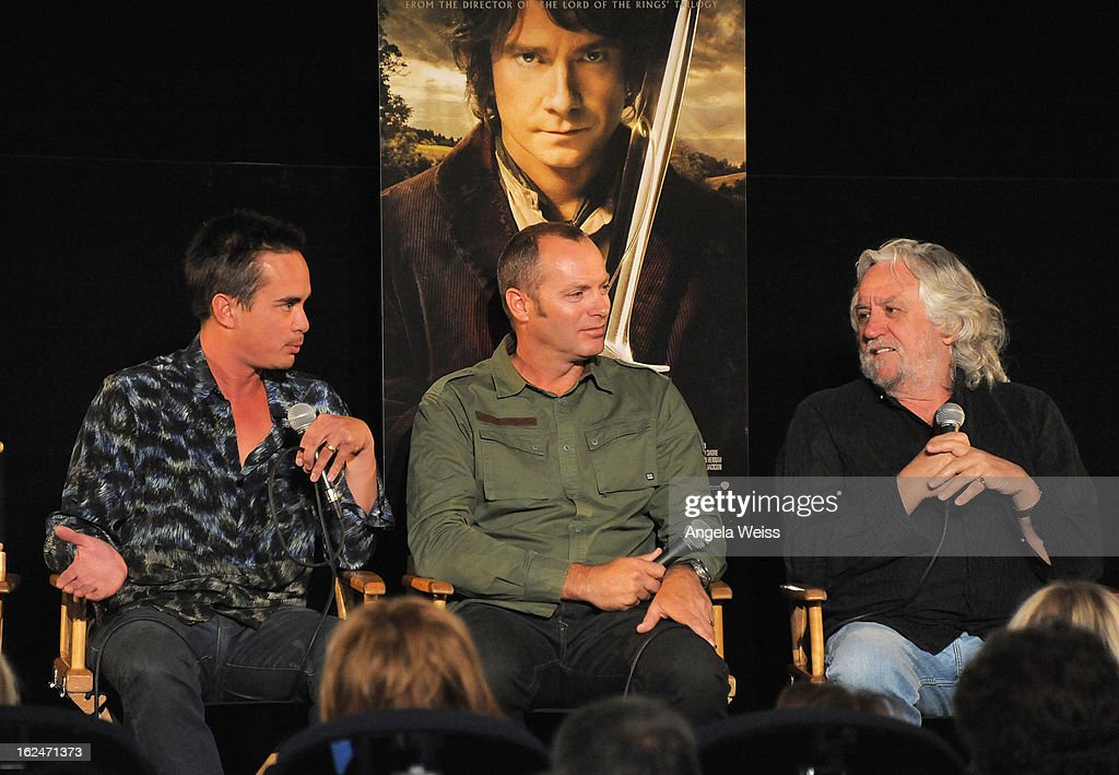 Set decorator Ra Vincent, set decorator Simon Bright and production designer Dan Hennah attend the Academy Award Nominees for Production Design and Set Decorators panel discussion at the Egyptian Theatre on February 23, 2013 in Hollywood, California.