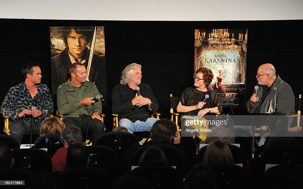 Set decorator Ra Vincent, set decorator Simon Bright, production designer Dan Hennah and moderator Thomas A. Walsh attend the Academy Award Nominees for Production Design and Set Decorators panel discussion at the Egyptian Theatre on February 23, 2013 in Hollywood, California.