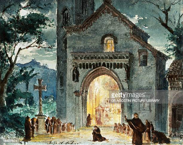 Set design by Andrea Becchi depicting the procession of monks at sunset in the second act of the opera La forza del destino by Giuseppe Verdi...