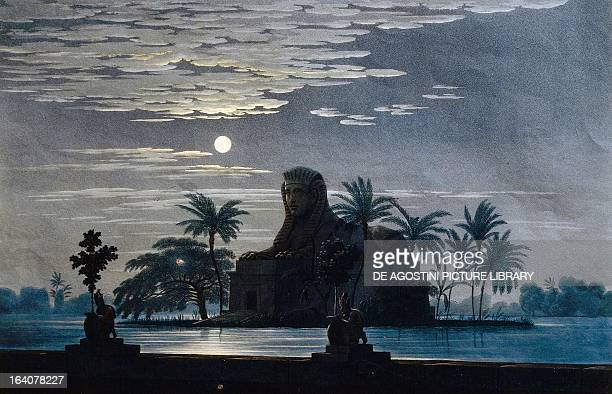 Set design conceived by Karl Friedrich Schinkel for a garden in Sarastro's palace Act II Scene VII of The magic flute by Wolfgang Amadeus Mozart...