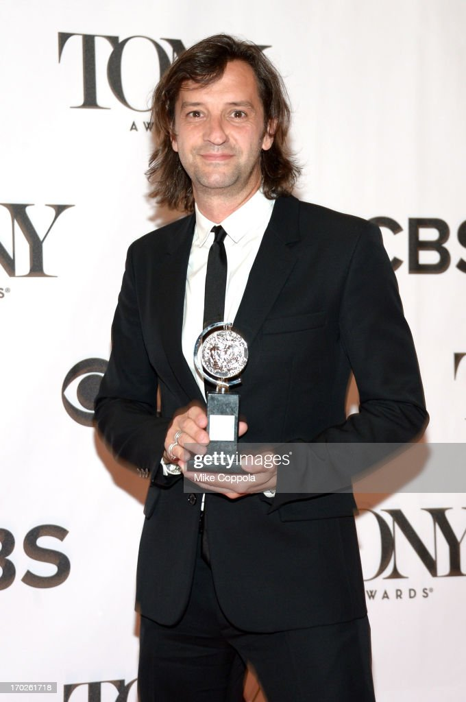 Set designer Rob Howell, winner of Best Scenic Design of a Musical for 'Matilda the Musical' poses in the press room at The 67th Annual Tony Awards at Radio City Music Hall on June 9, 2013 in New York City.