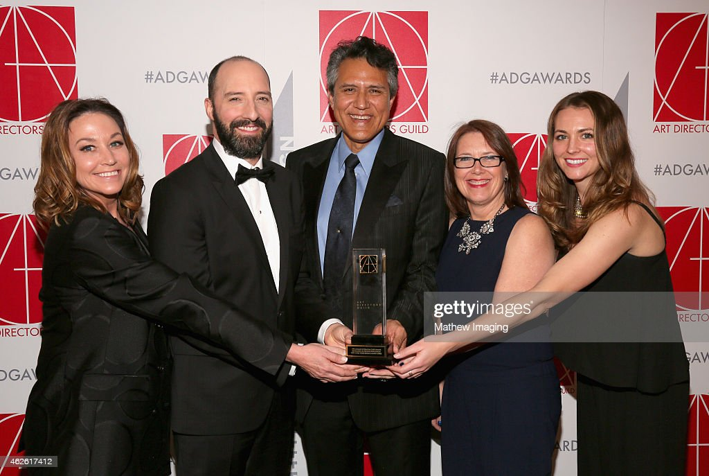 Set Director Cindy Slagter presenter Tony Hale Production Designer Richard Toyon with award for HalfHour SingleCamera Series Art Director LJ...