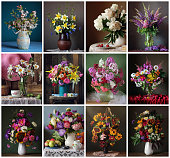 Set for a calendar of twelve still-lifes with flowers, one photograph size 15õ12 for each month.