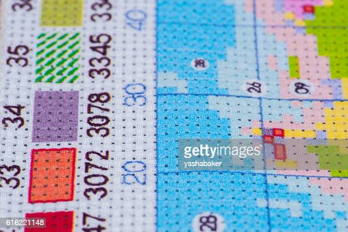 Set for embroidery by pattern with digits : Foto stock