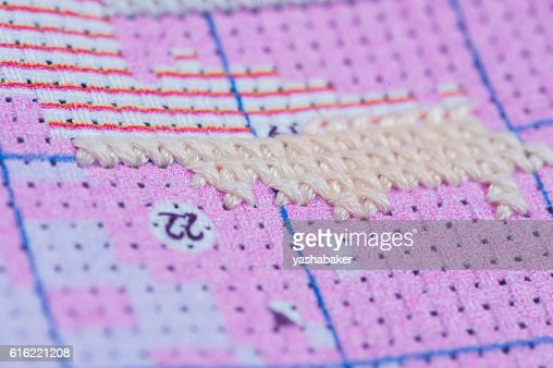 Set for embroidery by pattern with digits : Stock Photo