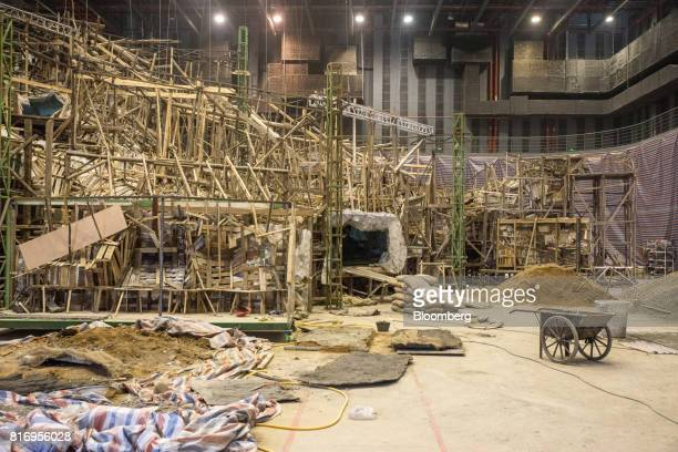 A set for the film 'Pacific Rim Uprising' stands under construction inside the Dalian Wanda Group Co Oriental Movie Metropolis project site in...