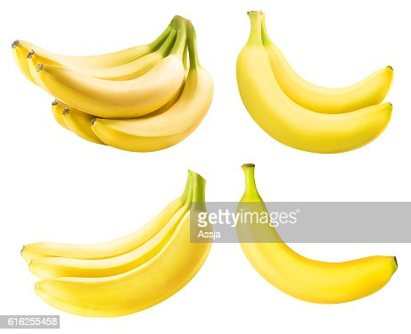 Set from bananas isolated on white background : Stock Photo